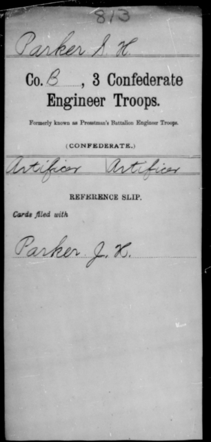 Parker, S H - Age [Blank], Year: [Blank] - Third Confederate Engineer Troops, P-Z - Raised Directly by the Confederate Government