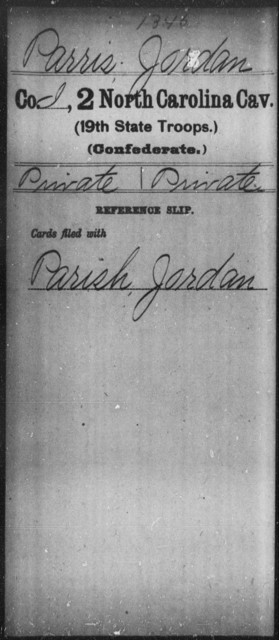 Parris, Jordan - Second Cavalry (19th State Troops)