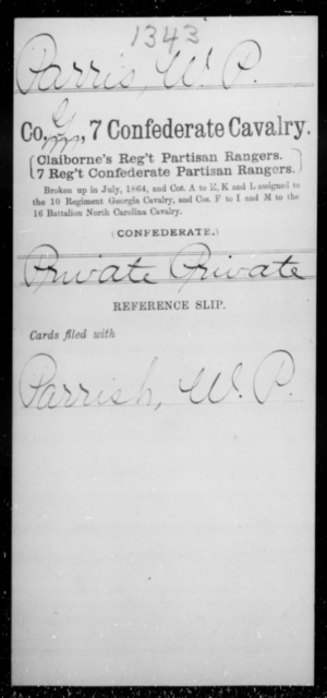 Parris, W P - Age [Blank], Year: [Blank] - Seventh Confederate Cavalry, L-Pa - Raised Directly by the Confederate Government