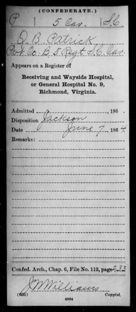 Patrick, James B - Age: [Blank], Year: 1863 - South Carolina Fifth Cavalry Me-R