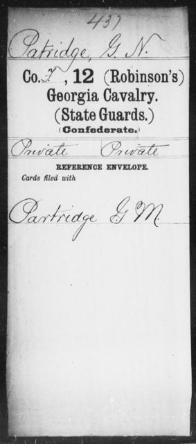 Patridge, G N - 12th Battalion, Cavalry (State Guards) AND 12th (Robinson's) Cavalry (State    Guards)