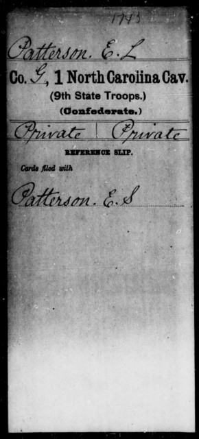 Patterson, E L - First Cavalry (Ninth State Troops)