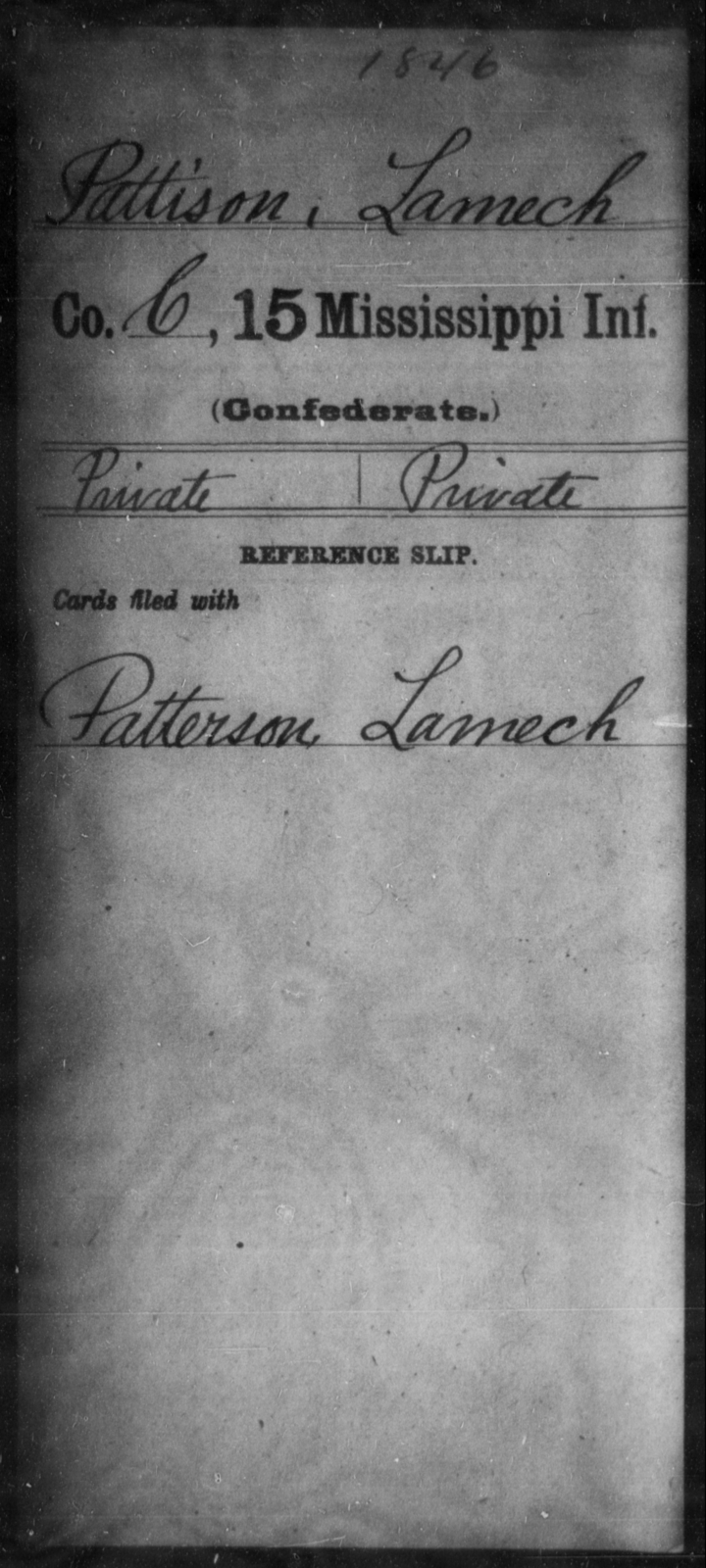 Pattison, Lamech - Age: [Blank], Year: [BLANK] - Mississippi Fifteenth Infantry, P-Se