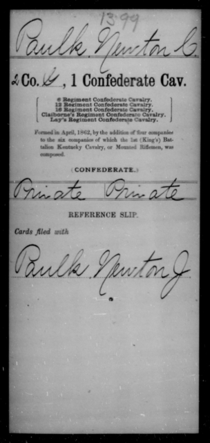 Paulk, Newton C - Age [Blank], Year: [Blank] - First Confederate Cavalry, O-T - Raised Directly by the Confederate Government
