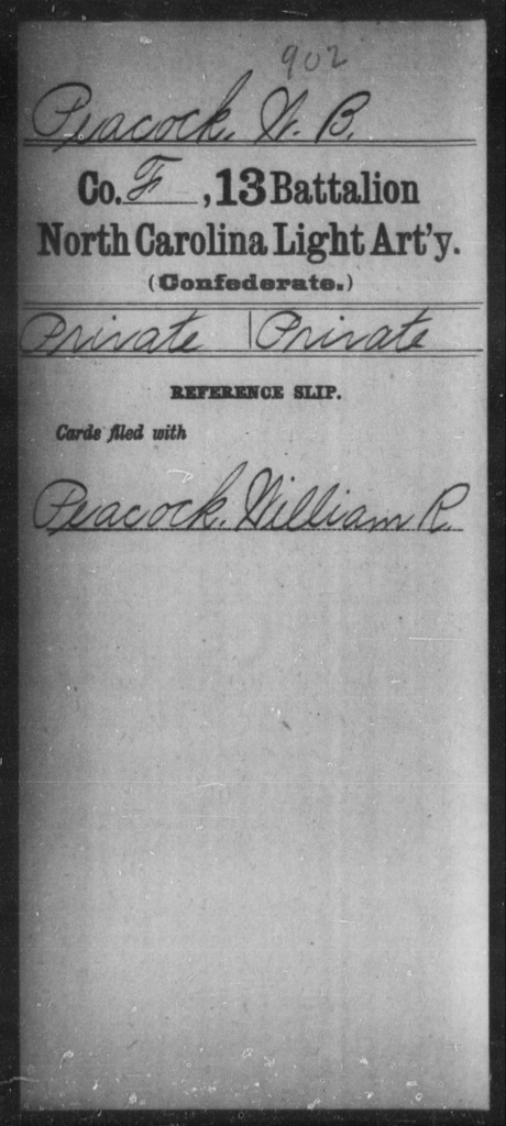 Peacock, W B - Thirteenth Battalion, Light Artillery