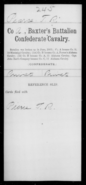Pearce, T R - Age [Blank], Year: [Blank] - Twentieth Confederate Cavalry, N-YAND Baxter's Battalion, Confederate Cavalry - Raised Directly by the Confederate Government