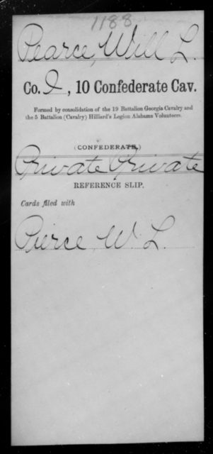 Pearce, Will L - Age [Blank], Year: 1863 - Tenth Confederate Cavalry, L-P - Raised Directly by the Confederate Government