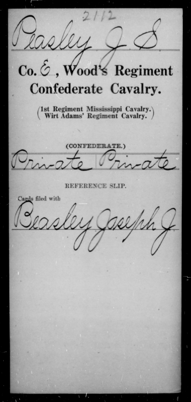 Peasley, J S - Age [Blank], Year: [Blank] - Wood's Regiment, Confederate Cavalry, P-Sl - Raised Directly by the Confederate Government
