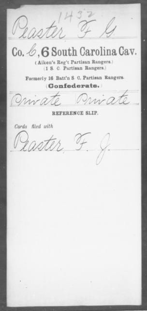 Peaster, F G - Age: [Blank], Year: [BLANK] - South Carolina Sixth Cavalry Me-Se