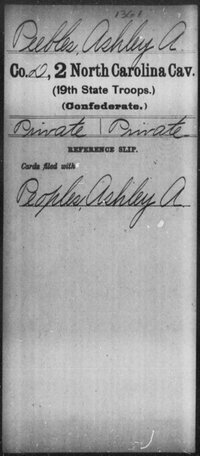 Peebles, Ashley A - Second Cavalry (19th State Troops)