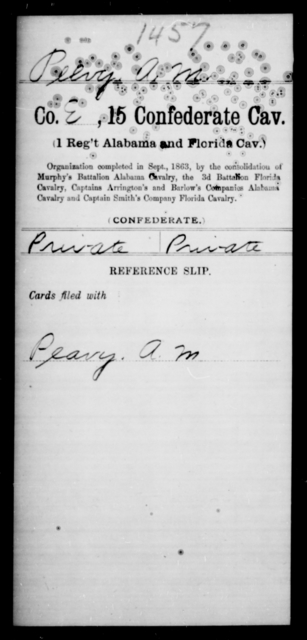 Peevy, A M - Age [Blank], Year: [Blank] - Fifteenth Confederate Cavalry, Mo-R - Raised Directly by the Confederate Government