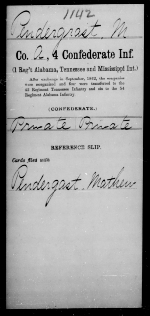 Pendergrast, M - Age [Blank], Year: [Blank] - Fourth Confederate Infantry, O-Y - Raised Directly by the Confederate Government