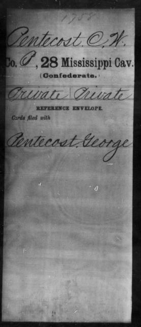 Pentecost, C W - Age: [Blank], Year: [BLANK] - Mississippi Twenty-eighth Cavalry, Mi-Q