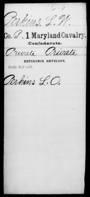 Perkins, L W - Age [Blank], Year: [Blank] - First Cavalry, Lo-Q - Maryland