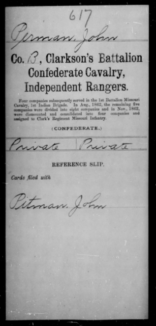 Perman, John - Age [Blank], Year: [Blank] - Clarkson's Battalion, Confederate Cavalry, Independent Rangers, L-Y AND Fort's Scouts CSA AND Lyon's Escort, Forrest's Cavalry CSA AND Martin's Escort CSA - Raised Directly by the Confederate Government