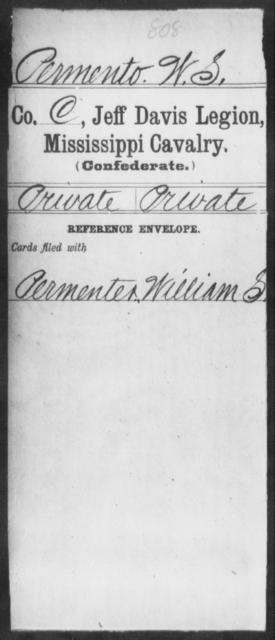 Permento, W S - Age: [Blank], Year: [BLANK] - Mississippi Jeff Davis Legion, Cavalry, N-Sp