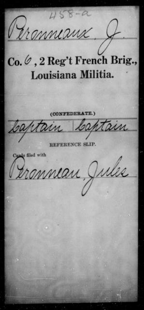 Peronneau, J - Age [Blank], Year: [Blank] - Second Regiment, French Brigade, Militia - Louisiana