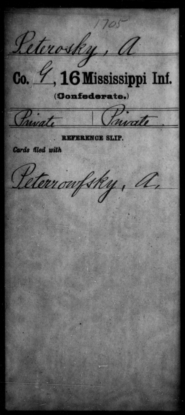 Peterosky, A - Age: [Blank], Year: [BLANK] - Mississippi Sixteenth Infantry, A, N-Ri