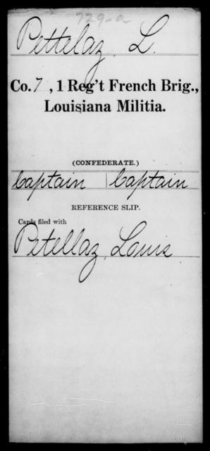 Pettelaz, L - Age [Blank], Year: [Blank] - First Regiment, French Brigade, Le - Z - Louisiana