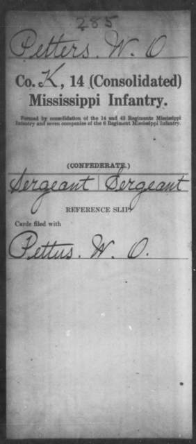Petters, W O - Age: [Blank], Year: [BLANK] - Mississippi Fourteenth Infantry, Wi-Z AND Fourteenth (Consolidated) Infantry