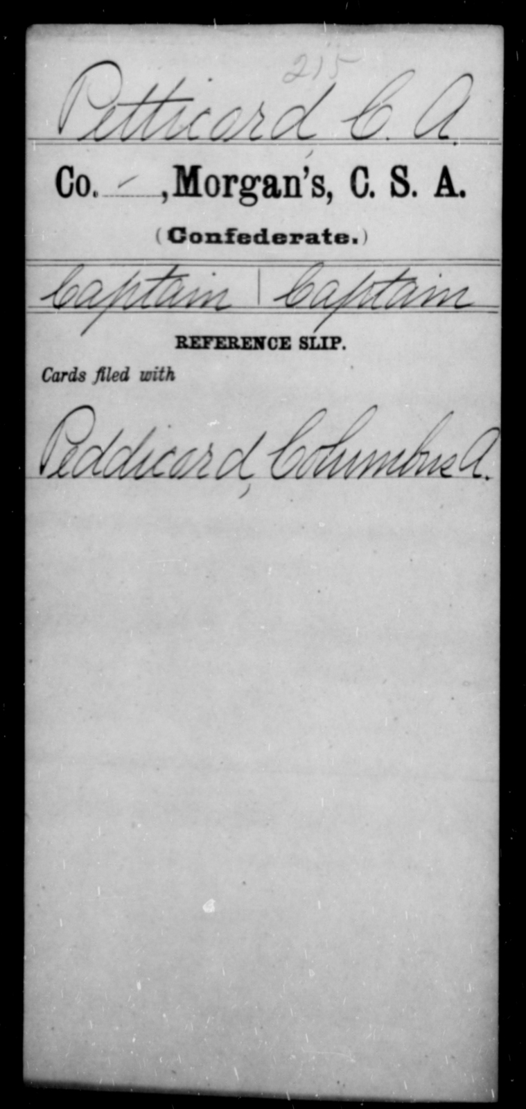 Petticord, C A - Age [Blank], Year: [Blank] - Invalid Corps AND Officers Surnamed Morgan, CSA AND President's Guard, CSA AND Misc. Records - Raised Directly by the Confederate Government