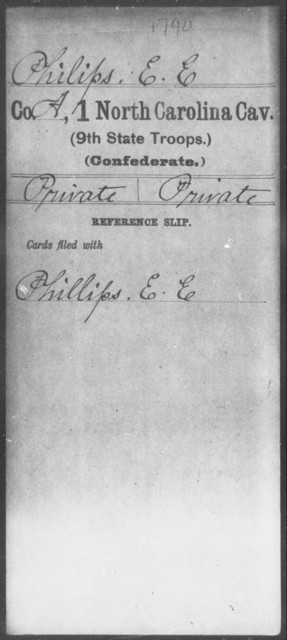 Philips, E E - First Cavalry (Ninth State Troops)