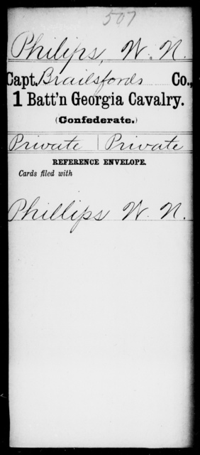 Philips, W N - 1st Battalion, Cavalry