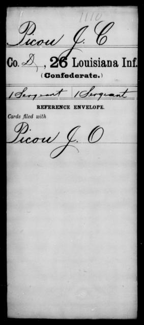 Picou, J C - Age [Blank], Year: [Blank] - Twenty-sixth Infantry, Mh - Z - Louisiana