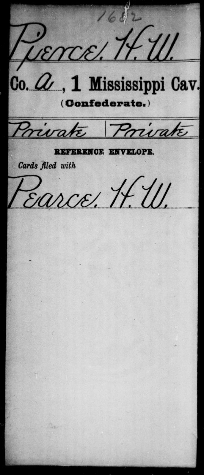 Pierce, H W - Age: [Blank], Year: [BLANK] - Mississippi First Cavalry, K-R