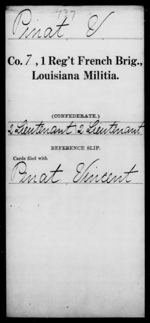 Pinat, V - Age [Blank], Year: [Blank] - First Regiment, French Brigade, Le - Z - Louisiana