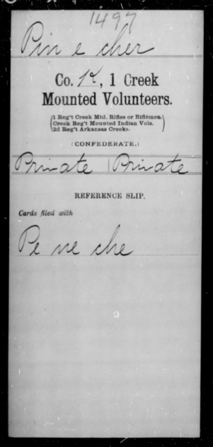 Pine, Cher - Age [Blank], Year: [Blank] - First Creek Mounted Volunteers, I-S - Raised Directly by the Confederate Government
