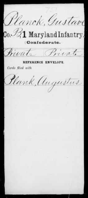 Planck, Gustave - Age [Blank], Year: [Blank] - First Infantry, M-R - Maryland