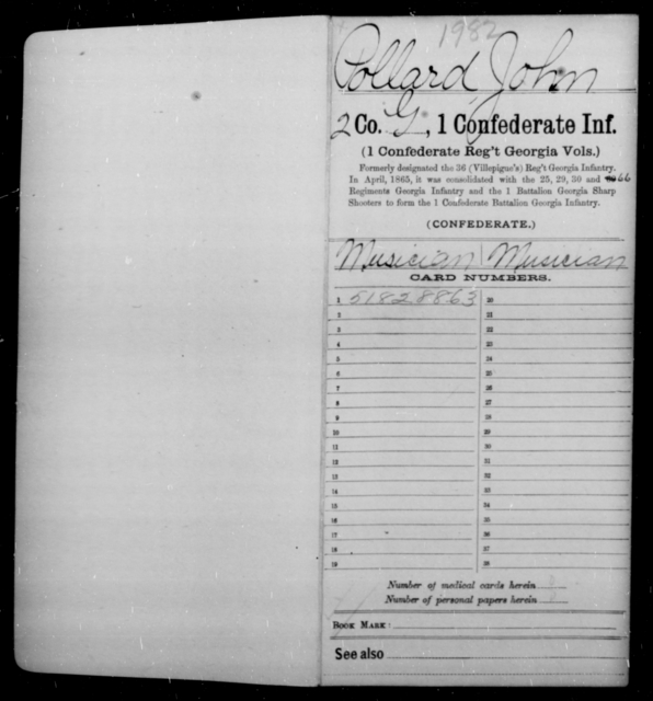 Pollard, John - Age [Blank], Year: 1864 - First Confederate Infantry, N-Ri - Raised Directly by the Confederate Government