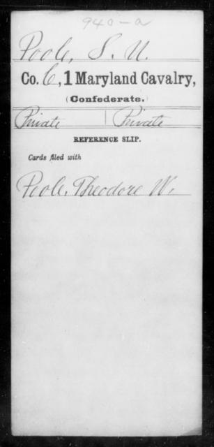 Poole, S U - Age [Blank], Year: [Blank] - First Cavalry, Lo-Q - Maryland