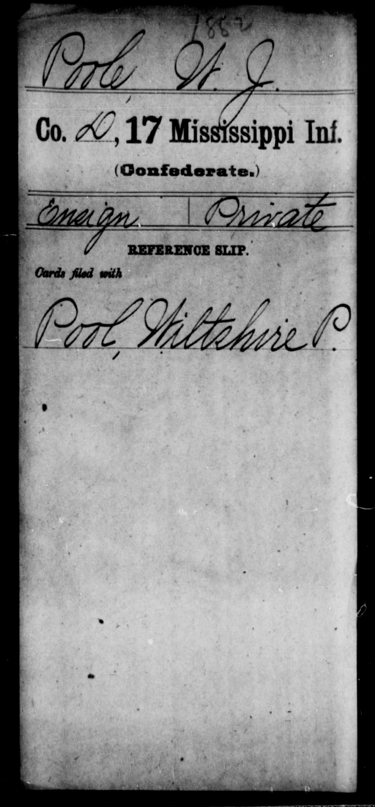 Poole, W J - Age: [Blank], Year: [BLANK] - Mississippi Seventeenth Infantry, Pe-R