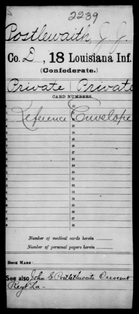 Postlewaith, J J - Age [Blank], Year: [Blank] - Eighteenth Infantry, PI - Sh - Louisiana