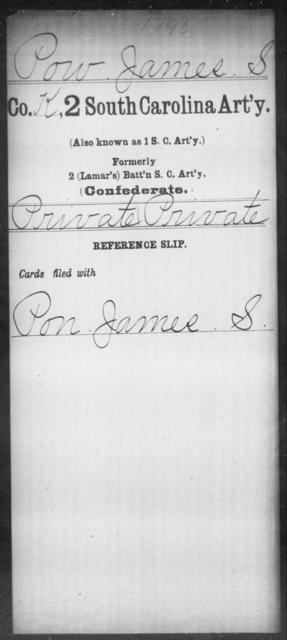 Pow, James S - Age: [Blank], Year: [BLANK] - South Carolina Second Artillery Mi-P