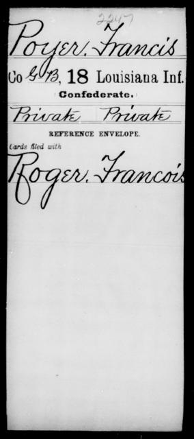 Poyer, Francis - Age [Blank], Year: [Blank] - Eighteenth Infantry, PI - Sh - Louisiana