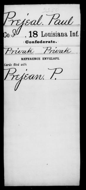 Prejeal, Paul - Age [Blank], Year: [Blank] - Eighteenth Infantry, PI - Sh - Louisiana