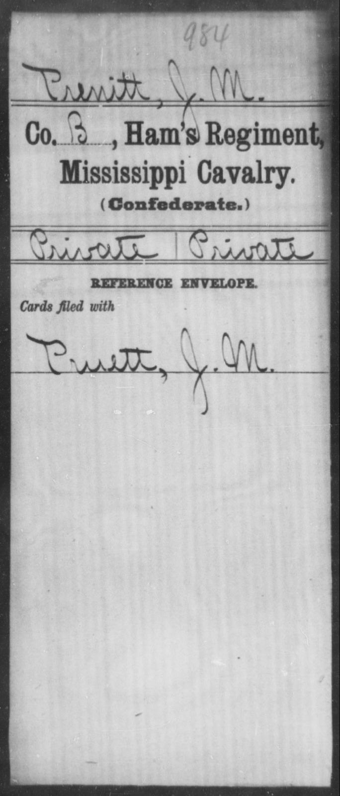 Prenitt, J M - Age: [Blank], Year: [BLANK] - Mississippi Ham's Regiment, Cavalry, H-S