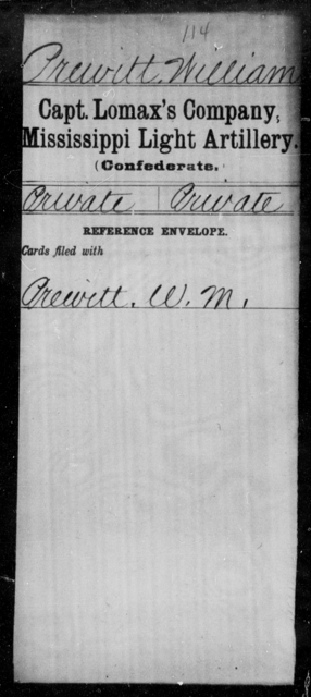 Prewitt, William - Age: [Blank], Year: [BLANK] - Mississippi Capt Lomax's Co., Light Artillery AND Capt Merrin's Battery, Light Artillery AND Capt. Richards' Co., Light Artillery (Madison Light Artillery), A-M