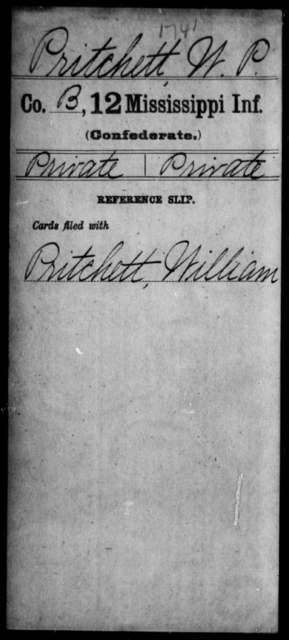 Pritchett, W P - Age: [Blank], Year: [BLANK] - Mississippi Twelfth Infantry, Ph-Si