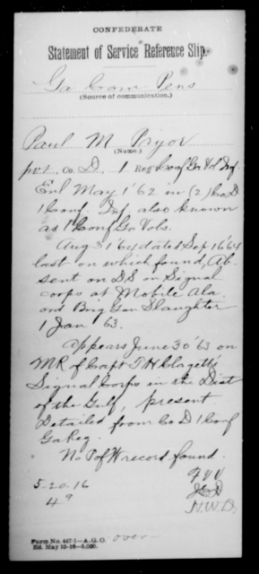 Pryor, Paul M - Age [Blank], Year: [Blank] - First Confederate Infantry, N-Ri - Raised Directly by the Confederate Government