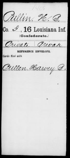 Pullin, H B - Age [Blank], Year: [Blank] - Sixteenth Infantry, Mo - Re - Louisiana