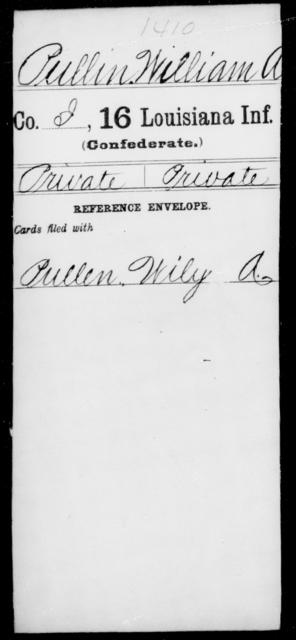 Pullin, William A - Age [Blank], Year: [Blank] - Sixteenth Infantry, Mo - Re - Louisiana