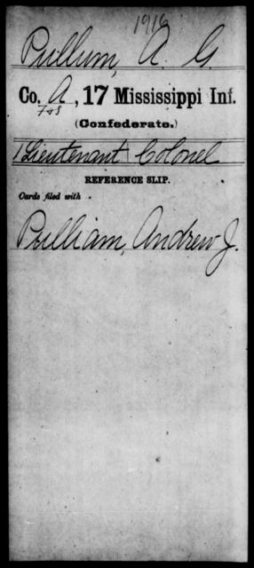 Pullum, A G - Age: [Blank], Year: [BLANK] - Mississippi Seventeenth Infantry, Pe-R