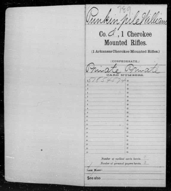Punpkin Pile, William - Age 22, Year: 1861 - First Cherokee Mounted Rifles, M-Y - Raised Directly by the Confederate Government