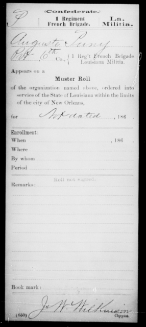 Puny, Auguste - Age [Blank], Year: [Blank] - First Regiment, French Brigade, Le - Z - Louisiana