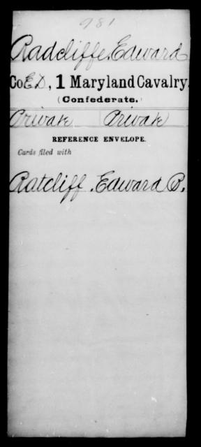 Radcliffe, Edward - Age [Blank], Year: [Blank] - First Cavalry, R-St - Maryland