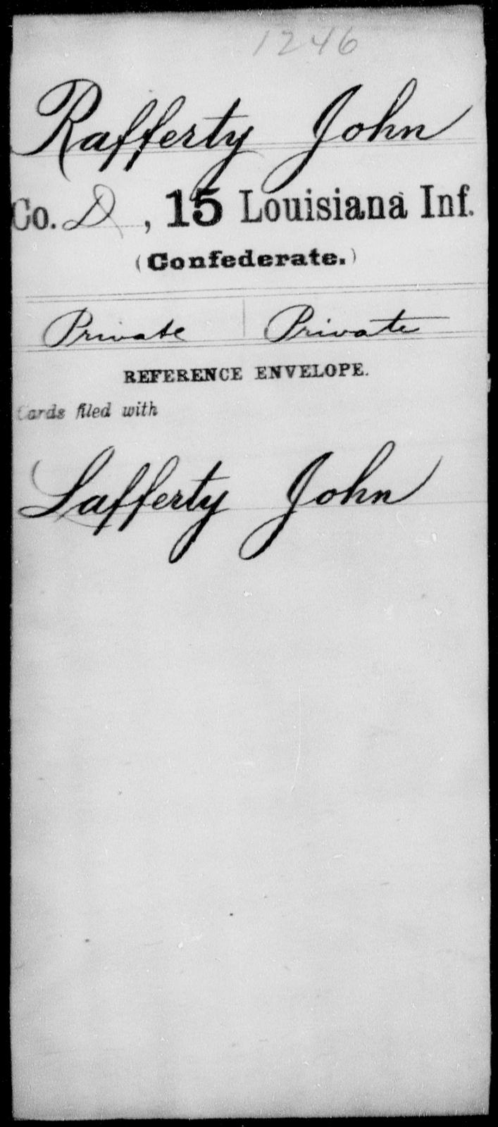 Rafferty, John - Age [Blank], Year: [Blank] - Fifteenth Infantry, No - Sm - Louisiana